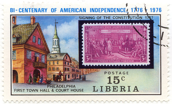 Bi-centenary of American Independence 1776-1976 - Signing of the constitution 1787 - Philadelphia - first town hall and court house