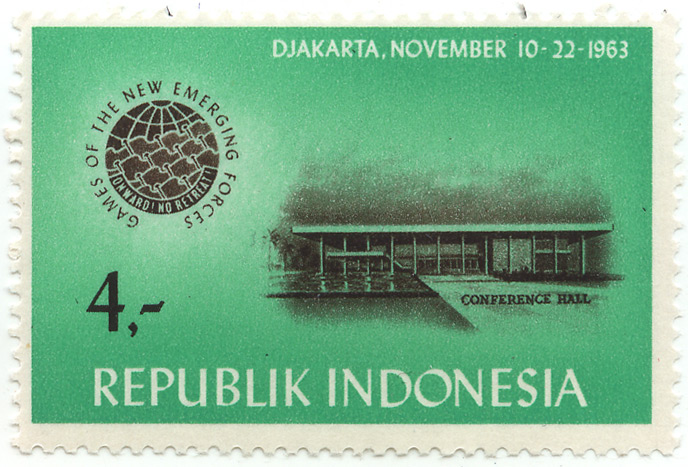 Games of the new emerging forces - Onward! No retreat! - Djakarta, November 10-22-1963 - conference hall
