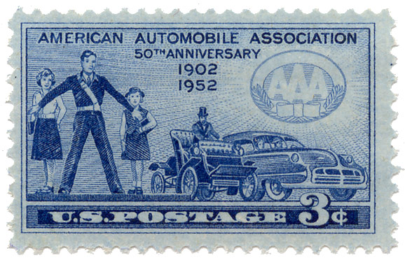 American Automobile Association 50th Anniversary 1902-1952 U.S. postage stamp 3¢