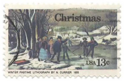 Christmas - Winter Pastime - Lithograph by N. Currier 1855