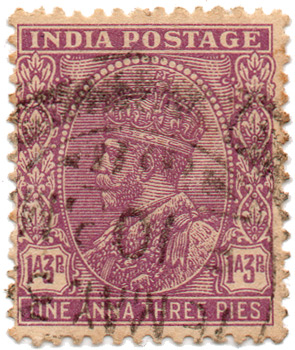 India Postage - One Anna Three Pies
