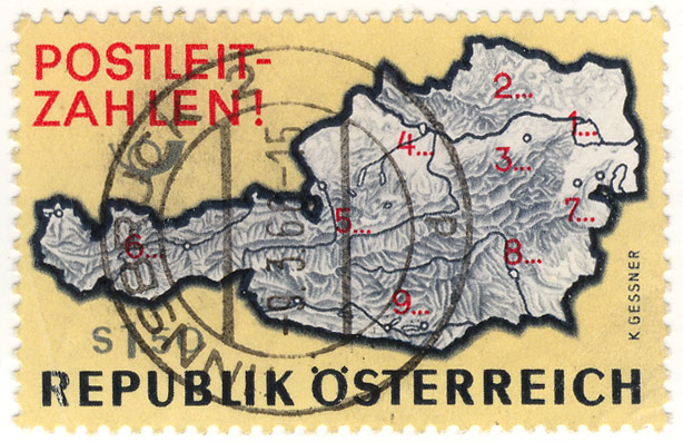 Stamp postal codes austria 1968 1516 for Country code 1516