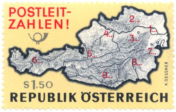 Stamp Postal Codes Austria 1968 1516