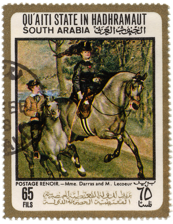 Qu`aiti State in Hadhramaut - South Arabia - Postage  - Renoir - Mme. Darras and M. Lecoeur