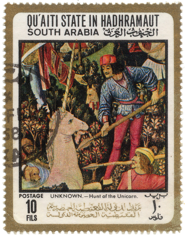 Qu`aiti State in Hadhramaut - South Arabia - Postage  - Unknown - Hunt of the unicorn