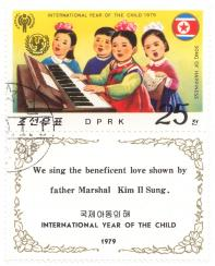 International year of the child 1979 - Song of happiness - We sing the beneficent love shown by father Marshal Kim Il Sung.